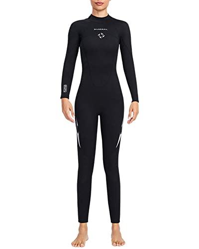 TrusMe Traje de neopreno para hombre y mujer, 3 mm, neopreno, para adultos, con cremallera, trajes de neopreno para buceo, snorkel, surf, natación, mujer, negro, L