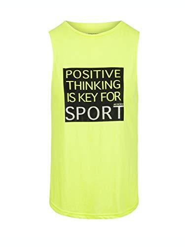 BODYCROSS Débardeur Col Rond Femme Lysie Jaune Fluo Training, Lifestyle - Polyester/Viscose - Coupe Près du Corps, Phrase de Motivation sur Le Ventre