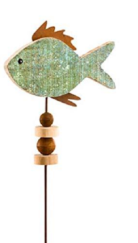 Gehlmann dekorativer maritimer Gartenstecker Gartendeko Fisch aus Holz mit Metall rostig in 2 möglichen Farben (grünblau)