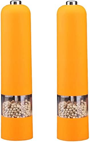 JeeKoudy Molinillo de Sal y Pimienta eléctrico de 2 Piezas, Mecanismo de cerámica, luz LED, Funciona con Pilas, Ideal para Sal Marina, Pimienta, Hierbas secas, Especias, Amarillo, 22 cm de Altura