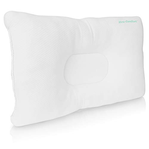 Xtra-Comfort Firm Orthopedic Pillow - Neck Support Pain Relief for Back and Side Sleepers - Therapeutic Memory Foam Core Sleep Cushion - Chiropractic Ergonomic Contours for Head and Spine Alignment