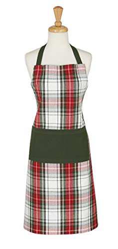 DII Christmas Collection Chef Apron, One Size, Holiday Plaid