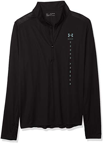 Under Armour Maillot Speed Stride Shock 1/2 Zip T-Shirt à Manches Longues Homme Black/Lichen Blue/Reflective (001) FR: S (Taille Fabricant: SM)