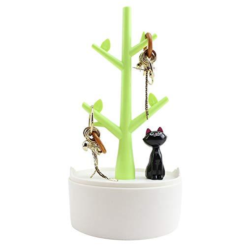 Yi-Achieve - Colgador de Joyas Creativo para Gatos y árboles, Joyas, Collares, Pendientes, Organizador para el Cabello, portaabs, Material de joyería, Elegante, Regalo para Mujeres y niñas (Rosa)