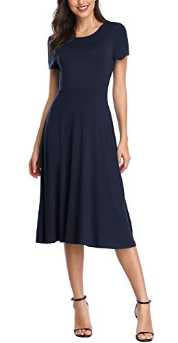 Urban CoCo Women's Short Sleeve Waisted Slim Fit Midi Dress (S, Navy Blue)