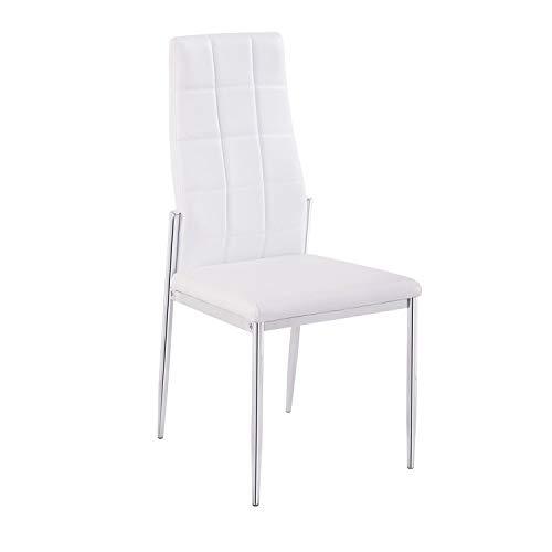 Adec - Silla Comedor tapizada símil Piel Color Blanco, Modelo Milano, Medidas: 102x47x55 cm de Fondo
