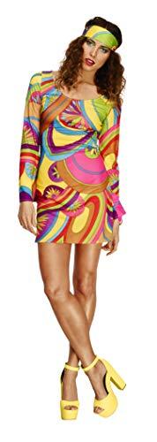 Koorts volwassen vrouwen 70's Flower Power kostuum, jurk en hoofd sjaal, Retro L - UK Size 16-18 multi