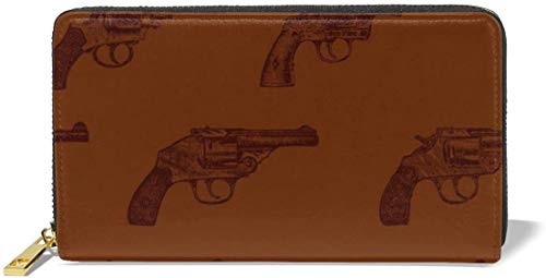 naotaori Cartera de Mujer Western Revolvers Large Capacity Genuine Leather RFID Clutch Wallets Credit Card Holder Organizer Ladies Long Purse for Women