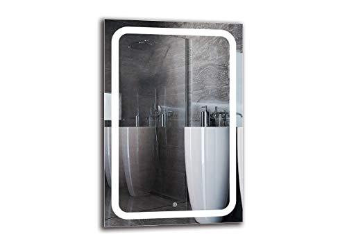 Espejo LED Deluxe - Dimensiones del Espejo 60x90 cm - Interruptor tactil - Espejo de baño con iluminación LED - Espejo de Pared - Espejo con iluminación - ARTTOR M1ZD-58-60x90 - Blanco frío 6500K
