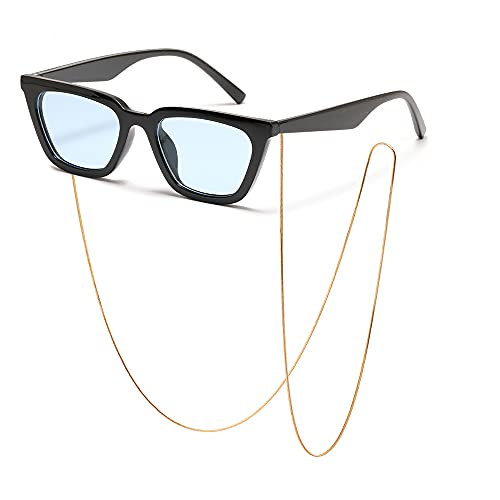 SHEEN KELLY Gafas de sol de cadena con parte superior plana para hombres y mujeres Gafas de sol de estilo sucinto cuadradas de diseñador retro Gafas de sol con lentes transparentes UV400