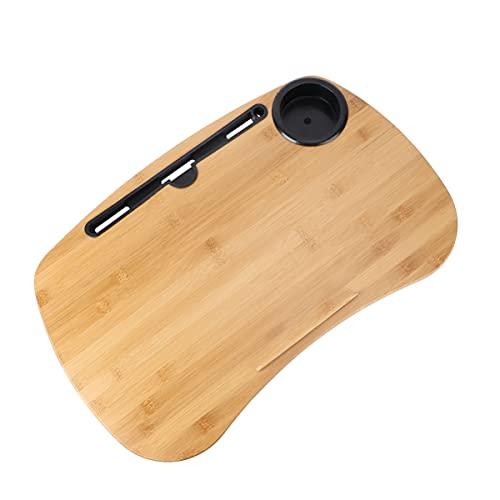 SOLUSTRE Escritorio de Bambú con Ranura para Cojín de Almohada Y Soporte para Taza Mesa Portátil de Madera para Ordenador Portátil Bandeja de Escritorio Plataforma Soporte para Teléfono