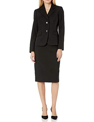 Le Suit Women's 2 Button Notch Collar Skimmer Skirt Suit, Black, 10