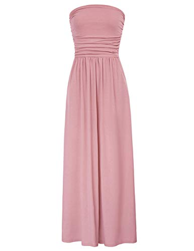 Women's Elegant Maxi Long Dress Bandeau Dress Empire Waist Size L Pink
