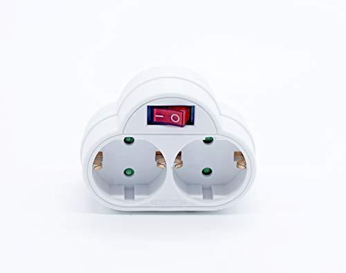 PRENDELUZ Schuko-Adapter, 2 Steckdosen mit Schalter