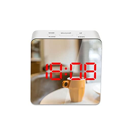 FQDSWS Despertador electrónico diseño silencioso digital LED gran pantalla espejo apagado función de memoria AAA no pilas resplandor reloj moderno decoración del dormitorio (color: rojo-C)