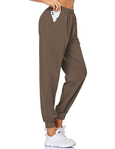 EVELIFE Pantalon Chandal Mujer Jogger Elásticos Pantalones de Deporte con Bolsillo Pantalón para Deportivo Yoga Fitness(Castaño L)