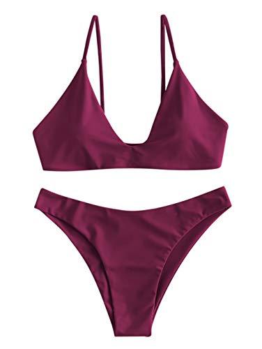 ZAFUL Damen Spaghetti-Träger Bikini Set Rot L