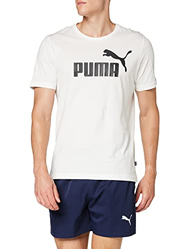 PUMA Essentials Logo Tee M, Maglietta Uomo, Bianco (White/Black), M