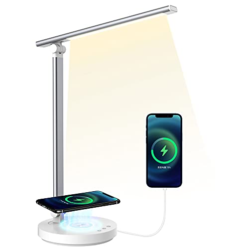 Schreibtischlampe Led Wireless Charger Dimmbar Tischlampe SHEEPPING Bürolampe Touch Control Ladefunktion Nachttischlampe mit USB Ladeanschluss 5 farb und 5 Helligkeitsstufen Memory Funktion Silber