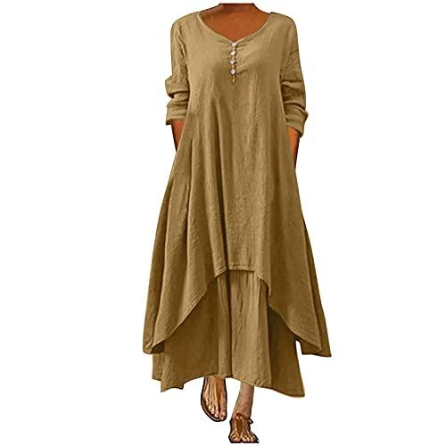 Maxikleider Damen Lang Sommerkleid 3/4 Ärmel Kleider V-Ausschnitt Strandkleider Kurzarm Casual Loose Kleider Damen Sommer Einfarbig Lang Kleider