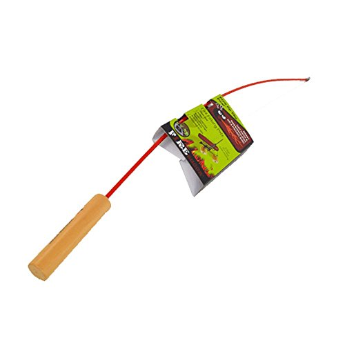 Firebuggz Fishing Pole Campfire Cooking Equipment, RED, Funny Hot Dog and Marshmallow Campfire Roasters, 4 Colors