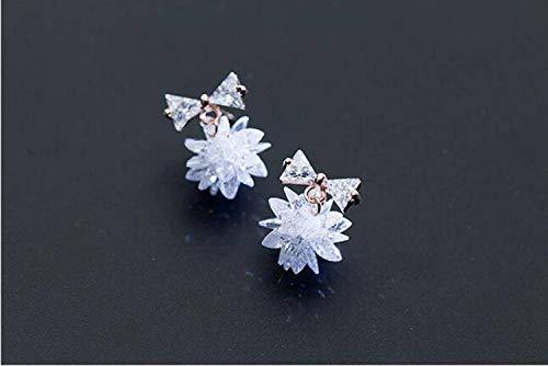 WOZUIMEI S925 Pendientes de Lazo de Plata Mujer Han Dulce Flor de Cristal de Hielo Pendientes Cortos Regalooro rosa