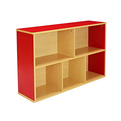 Colorful Essentials Streamline 5-Compartment Laminate Storage Cabinet 30 in Height; Organize Books, Toys, Games, School Art Supplies, Space-Saving Furniture for Home, Daycare, Classroom - Maple/Red