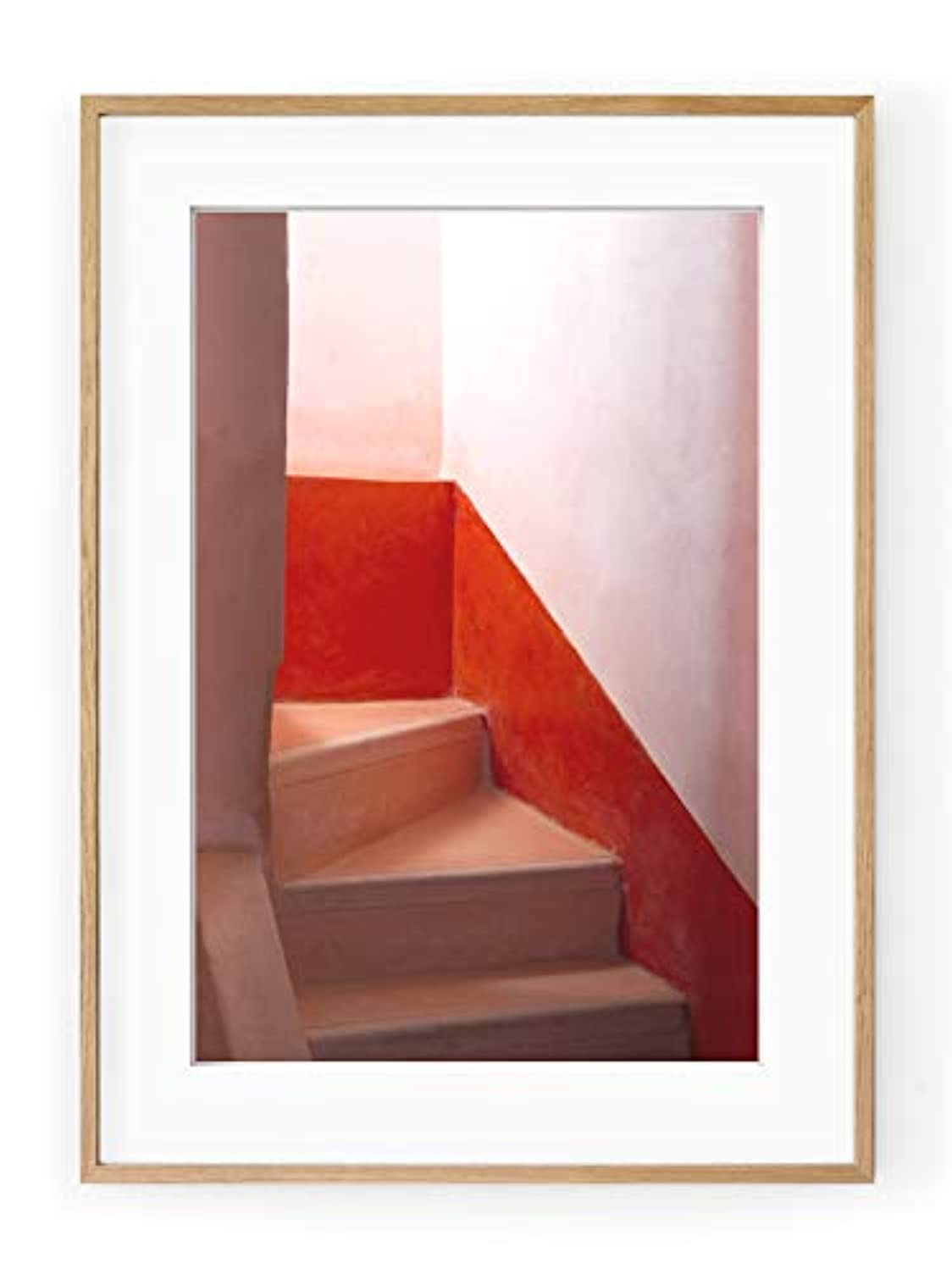 Moroccan Staircase, White Lacquered Wood Frame, with Mount, Multicolored, 50x70