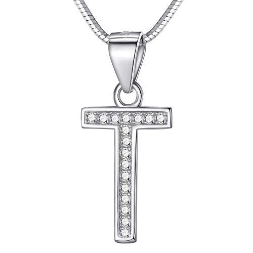 Morella Damen Buchstabenhalskette Halskette und Anhänger Buchstabe T aus 925 Silber rhodiniert 45 cm lang