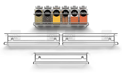 NOBRO® Gewürzregal - 4er Set - Modern & stilvoll dank versteckter Befestigung - Persönlich benutzbar - Stabil & langlebig - Inkl. Befestigungs-Tools - Kein Bohren notwendig - Silber