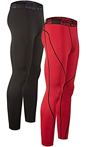 DEVOPS Men's 2 Pack Thermal Heat-Chain Compression Baselayer Long Johns Pants (X-Large, Black/Red)