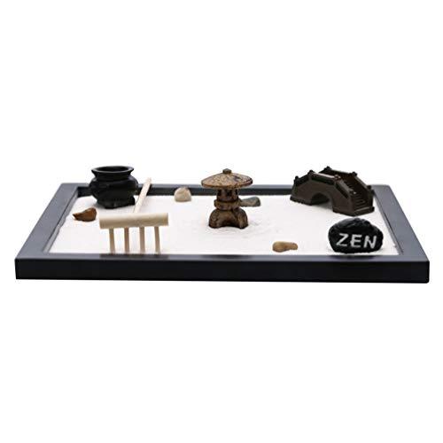 VOSAREA Bureau Mini Zen Jardin Méditation Zen Jardin Plateau avec Râteaux de Sable Pierre Tour Pont Miniature Fée Jardin Ornement Kit pour Décoration de Bureau (Noir)