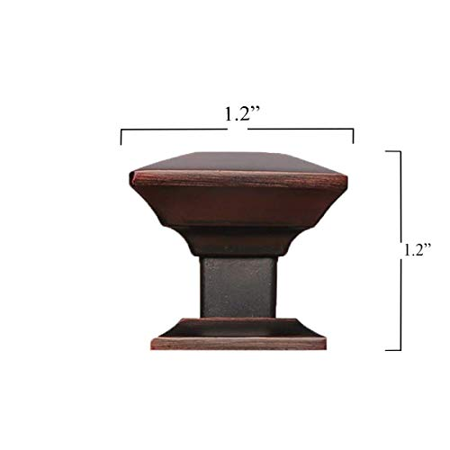 Southern Hills Oil Rubbed Bronze Cabinet Knobs - Pack of 5 - Square Craftsman Style Kitchen Cabinet Pulls - SHKM006-ORB-5
