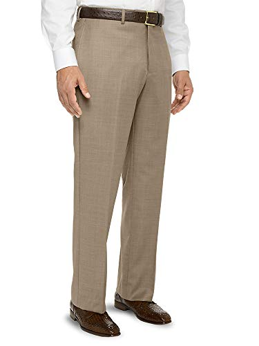 Paul Fredrick Men's Super 120s Sharkskin Flat Front Suit Pant Tan 38