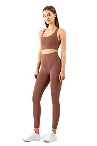 Conjunto de Yoga para Mujer 2 Piezas - Conjunto Deportivo - Leggings de Entrenamiento y Top Corto con Sujetador Elástico Suave Incorporado - Marrón