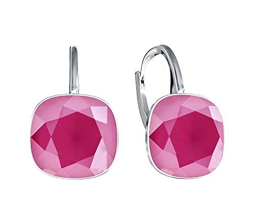 Victoria Kraft – Pendientes cuadrados – Colores variantes – Pendientes de plata 925 con cristales – Juego de joyas para mujer con piedras con caja de regalo, regalo de cumpleaños (Peony Pink)