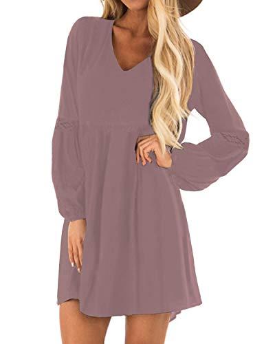 YOINS Sexy Kleid Damen Sommerkleid für Damen Babydoll Kleider Brautkleid Tshirt Kleid Rundhals Langarm Minikleid Langes Shirt Lose Tunika Strandkleid Baumwolle-lila EU40-42