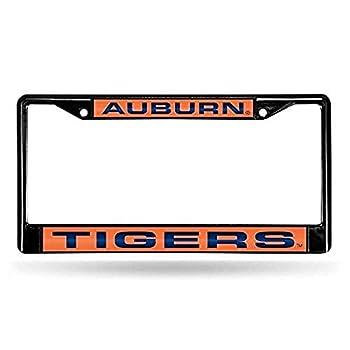 NCAA Rico Industries Laser Cut Inlaid Standard Chrome License Plate Frame Auburn Tigers  6 x 12.25-inches