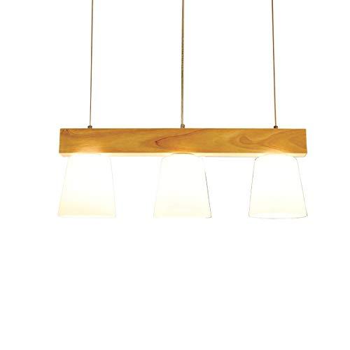 Esstischlampe Pendellampe Holz Esstisch Hängeleuchte Glas Pendelleuchte höhenverstellbar Wohnzimmerlampe Deckenleuchte E27 3000K Warmweiß Hängelampe für Esszimmer Küche Büro Arbeitzimmer