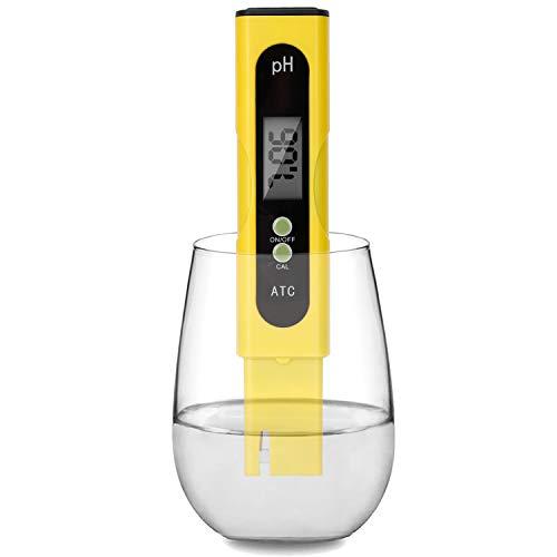 Digital PH Meter - 0.01 PH High Accuracy Water Quality Tester PH 0.0-14.0 PH Monitor ATC Pocket Pen Analyzer Pool Water Aquarium Pocket Portable (Yellow)