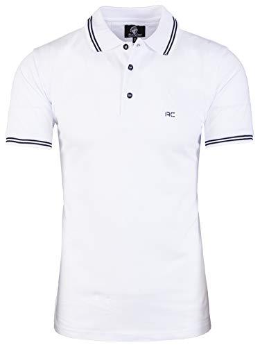 Rock Creek Herren Polo T-Shirts Basic Shirt Kurzarm Poloshirt Polohemd Slim Fit Sommer Shirts Männer T Shirt Top Polokragen H-177 Weiß XL