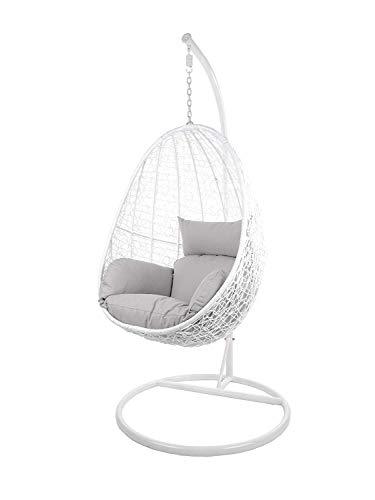 Kideo Swing Chair Indoor & Outdoor, Loungesessel Polyrattan, Hängestuhl, Hängesessel mit Gestell & Kissen (weiß/grau)