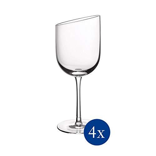 Villeroy & Boch 11-3653-8110 NewMoon Rotweinkelch Set, 4tlg, Elegante, Moderne Rotweingläser für jeden Tag, Kristallglas, klar, spülmaschinengeeignet