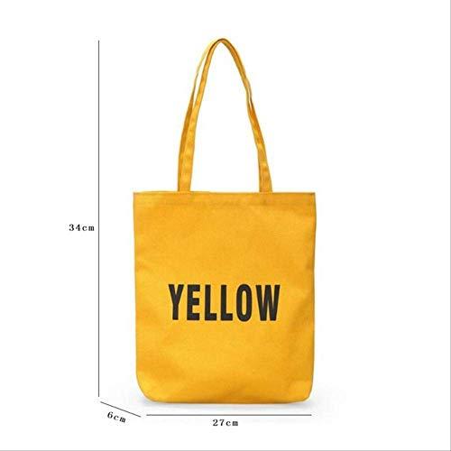 DFJU Leinentasche Casual Frauen Leinen Brief Handtaschen Große Kapazität Shopping Taschen Damen Strand Reise Schultertaschen l gelb