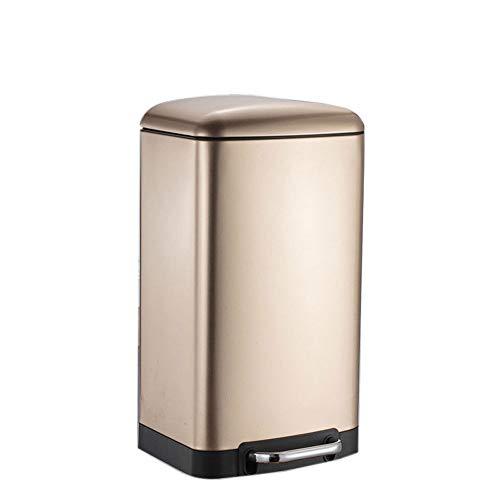 Prullenbak/Pedaal RVS Prullenbak/met Deksel Huishoudelijke Grote Capaciteit Prullenbak/Keuken Woonkamer Slaapkamer - Champagne Goud 15L