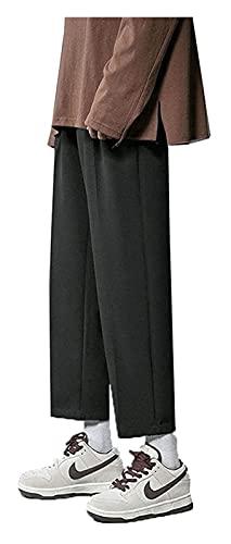 DOUYUAN Pantalón Cargo de Punk Pant Piernas Anchas for Hombres Hombres Coreanos Casual Harem Pantalones Streetwear Masculino Color Sólido Pantalones (Color : Black, Size : 3XL)