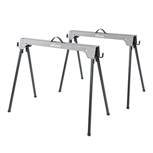Evolution Power Tools Compact Folding Saw Horses Twin Pack (Aka Saw Bench, Sawhorse Pair) - Supports Up to 500KG - Lightweight & Portable (EVOSH1)