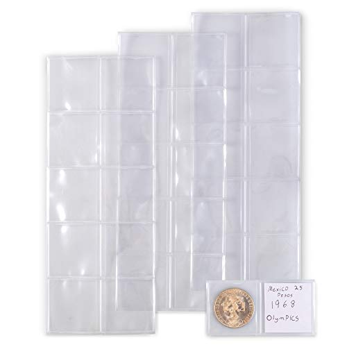 Vinyl Coin Flips 100 Pack | Coin Holders for Collections | 1.75 x 1.75 Collecting Sleeves | Protection Supplies for Vintage Currency, Money | Covers Prevent Stains, Weathering, Rust, and More