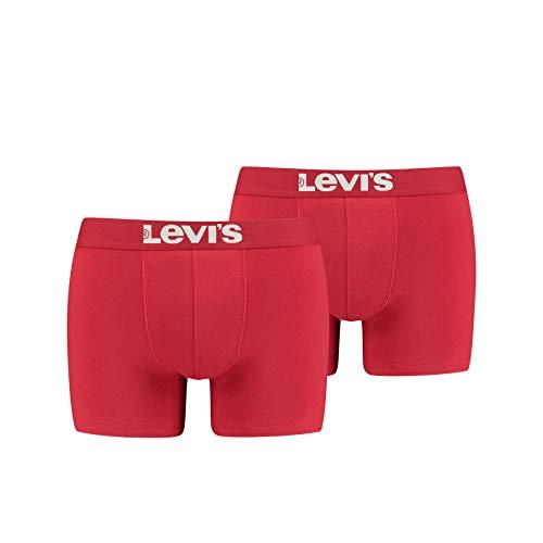 Levi's Herren Solid Basic Boxers Boxer-Shorts, Chili Pepper, M (2er Pack)