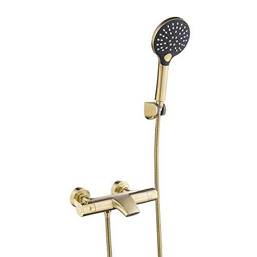 Mainen Grifo de bañera dorado con ducha de mano Grifo de bañera...